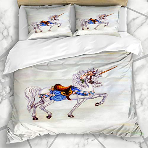 - Ahawoso Duvet Cover Sets Queen/Full 90x90 Carousel Original Painting Unicorn On Cloud Oil Horse Canvass Cheerful Creature Design Spring Microfiber Bedding with 2 Pillow Shams
