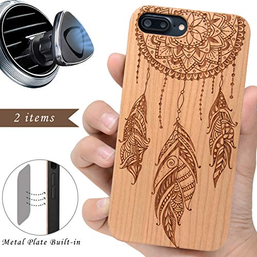 (iProductsUS Wood Phone Case Compatible with iPhone 8 7 6/6S and Magnetic Mount - Protective Wooden Cases Engraved Dreamcatcher, Built in Metal Plate, TPU Rubber Shockproof Cover (4.7 inch))