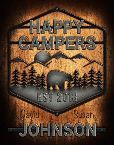 Personalized Happy Campers Poster Print | Custom Artwork With Couples Names | Gift for Newly Weds or Anniversaries