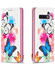 Miagon Wallet Folio Flip PU Leather Case for Samsung Galaxy S10 Plus,Creative Painted Design Full-Body Protective Cover Card Holder Kickstand Magnetic,Butterfly Flower