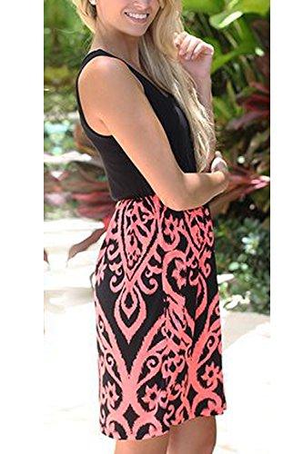 XL La De Pink De De Vestido Mujer Coctel Sin Playa Mangas Verano Mini Vestido fRwgx4qOf