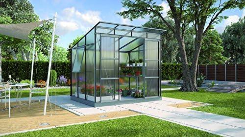 Freya 5900 de aluminio Invernadero HKP-100 6 mm antracita Invernadero Jardín Casa Incluye Base con cimientos: Amazon.es: Jardín