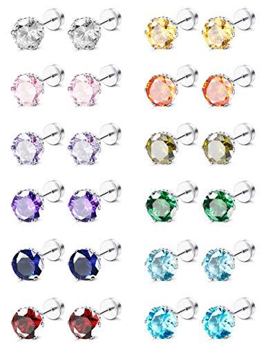 ORAZIO CZ Stud Earrings for Girls Women Stainless Steel Cubic Zirconia Screwback Earrings Set 7MM