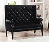 Odina Black Button Tufted Loveseat Chair by Crown Mark