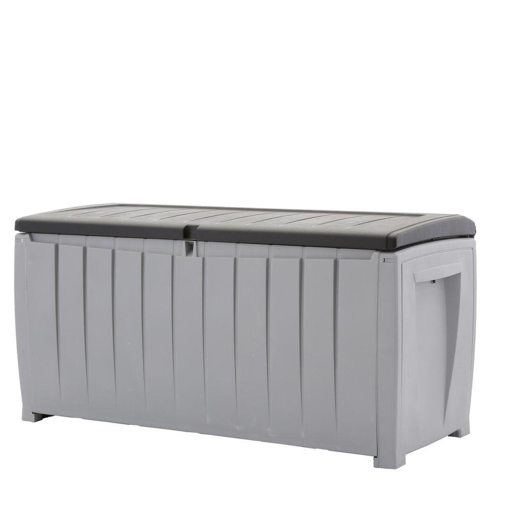 AmzHero Durable Outdoor Storage Deck Box Plastic Gray Weatherproof Lockable 90 Gallon