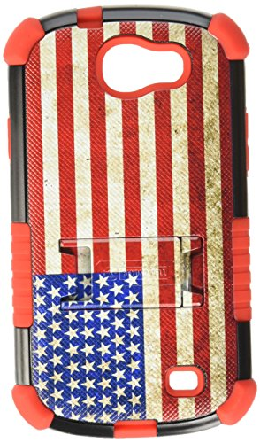 Beyond Cell Tri-Shield Durable Hybrid Hard Shell and Silicone Gel Case for Samsung Galaxy Express i437 - Retail Packaging - Black/Red/American Flag American Flag Design Faceplate