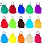 30 Pack 15 Colors Children's Non-Woven Artists Fabric Aprons Preschool Kids Reusable Apron for Painting Dining and Craft