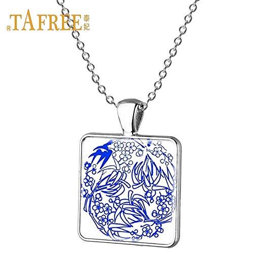 Links Porcelain Vase - Pendant Necklaces - Ethnic Style Blue and White Porcelain Necklaces Plain Handpainted Square Pendants Women Decorative Necklaces Jewelry J502 - by TAFAE - 1 PCs