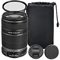 Canon EF-S 55-250mm f/4.0-5.6 IS II Telephoto Zoom Lens for Canon EOS 7D, 80D, 60D, 77D, EOS Rebel T7i, T6, SL1, T1i, T2i, T3, T3i, T4i, T5i, XS, XSi, XT, Xti - International Version