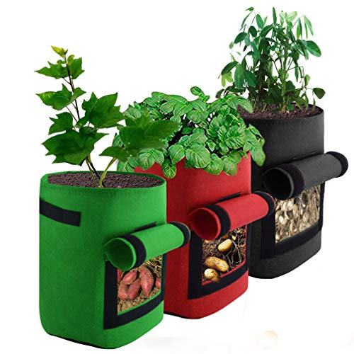 (mifengda 3 Pack Potato Grow Bag 7 Gallon Vegetable Growing Bag Breathable Non-Woven Fabric with Strap Handles Hook&Loop Window for Potato/Carrot/Strawberry Nursery Garden and Planting Grow(Red+Green)