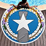 SLADDD2 Thick Round Beach Towel Blanket - Flag of The Northern Mariana Islands Large Circle Circular Mat