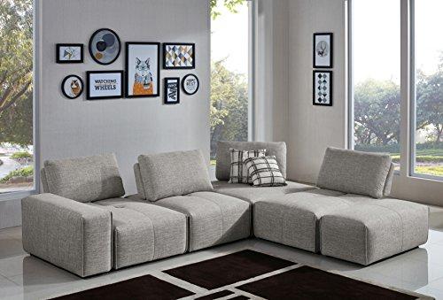 VIG Furniture Divani Casa Platte Collection Modern Polyester Fabric Upholstered Modular Sectional Sofa with Moveback Seat Backs, Light Grey