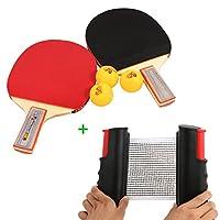 Tera® 2x Schläger Tischtennisschläger Tischtennis-Set mit 3 Tischtennisbälle...