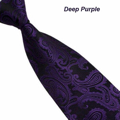 Bolayu New Silk Classic Paisley Mix Color JACQUARD WOVEN Men's Tie Necktie (Deep Purple) -
