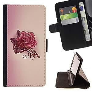 "For Samsung Galaxy A5 ( A5000 ) 2014 Version,S-type Tatuaje Clave Roja Tinta Arte Dibujo"" - Dibujo PU billetera de cuero Funda Case Caso de la piel de la bolsa protectora"