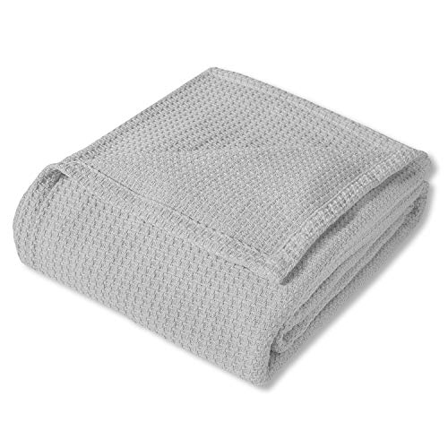 Sweet Home Collection 100% Fine Cotton Blanket Luxurious Basket Weave Stylish Design Soft and Comfortable All Season Warmth, King, Silver