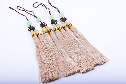 KONMAY 5pcs Soft Khaki Handmade Silky Craft Two Strands Tassels With Jade Beads and Chinese Knots (Large) ()