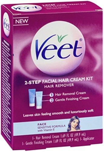 VEET 2-Step Facial Hair Cream Kit, 1 kit (Pack of 3)