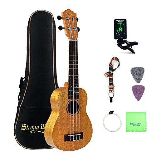 Soprano Ukulele Mahogany Bundle 21 Inch Professional Aquila Strings Ukulele Kids Small Guitar Starter Kit with Tuner, Strap, Extra Strings, Polishing cloth, Picks and Gig Bag