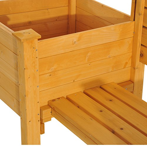 NEW Yellow Fir wood Wooden Garden Bench W/ Flower Bed Planter Patio Outdoor Furniture by Baskets, Pots & Window Boxes (Image #7)