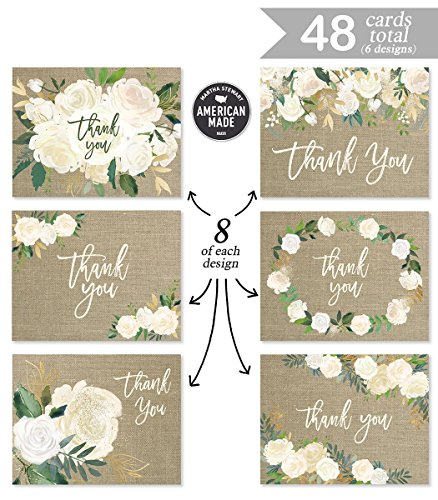 Rustic Wedding Thank You Cards (Set of 48) Premium All Occasion Assorted Bridal Shower Shabby Chic Mr. & Mrs. Burlap Note Card Variety Pack with Envelopes, Blank Inside Cute Excellent Value VTA0002