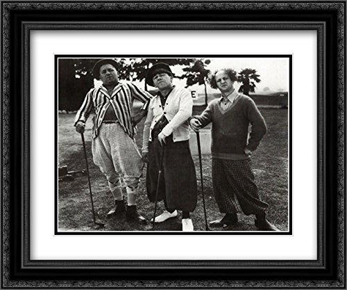 Three Stooges Golf with Friend 24x20 Double Matted Black Ornate Framed Movie Poster Art Print