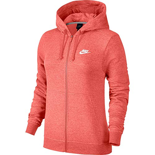 Nike Womens Sportswear Full Zip Fleece Hoodie Sunblush Heather/White 853930-655-Size Large