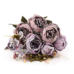 Werrox Artificial Silk Peony Flower,Bouquet Floral Plants Decor for Home Garden Decor (Grey Purple) | Model WDDNG -3189 41