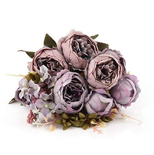 Werrox Artificial Silk Peony Flower,Bouquet Floral Plants Decor for Home Garden Decor (Grey Purple) | Model WDDNG -3189