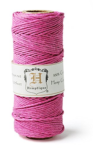 Hemptique HS20-BRPK Hemp 20-Pound Cord Spool, Bright Pink, 205-Feet (Hemp Pink Cord)