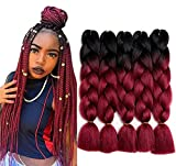 24 inch 5pcs/lot Ombre Braiding Hair Synthetic Braiding Hair Two Tone Ombre Jumbo Braids Hair Extensions Black-Wine Red