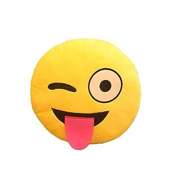 Cojín suave felpa linda Emoji amarillo Emoticon travieso Almohada Ronda de peluche de juguete muñeca almohada - traviesa