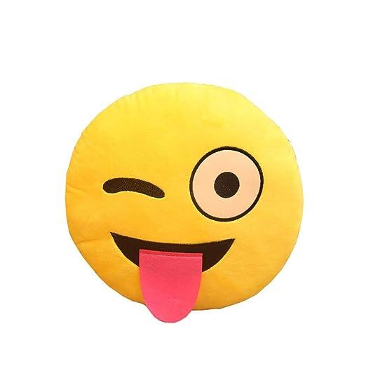 Lindo cojín de peluche suave de emoticono amarillo de ...