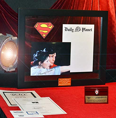 (SUPERMAN Prop DAILY PLANET STATIONERY, Signed MARGOT KIDDER, COA UAC, Frame, DVD, Real Superman CAPE Piece!)