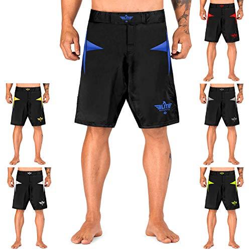 Elite Sports Star Series Fight Shorts - UFC, MMA, BJJ, No-GI, Kickboxing, Boxing Shorts (Blue, Medium)