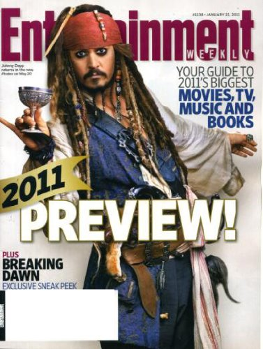 Entertainment Weekly January 21 2011 Johnny Depp/Pirates of the Caribbean: On Stranger Tides on Cover, 2011 Preview, Twilight: Breaking Dawn, Tom Hanks & Julia Roberts/Larry Crowne, J.D. Salinger Biography