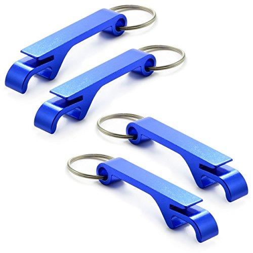 4er Set Flaschenöffner aus Aluminium für Schlüsselanhänger mit blauer metallic lackierung, Marke Ganzoo