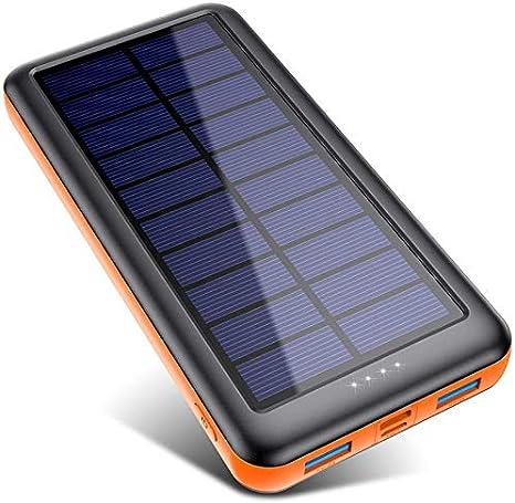Power Bank Solare 26800mAh, Caricabatterie Solare Portatile【3 Ingresso e 2 Uscite】Pxwaxpy Grande Capacità Caricatore Solare Batteria Esterna Ricarica Rapida con USB C Entrata per Samsung Huawei Tablet