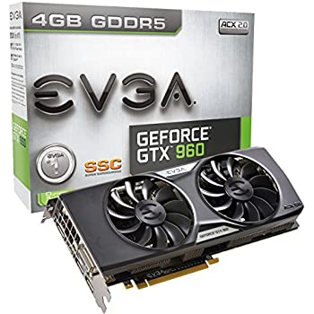 EVGA GeForce GTX 960 4GB SSC GAMING ACX 2.0+, Whisper Silent Cooling w/ Free Installed Backplate Graphics Card 04G-P4-3966-KR