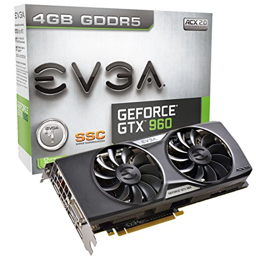 EVGA GeForce GTX 960 4GB SSC GAMING ACX 2.0+, Whisper Silent Cooling w/ Free Installed Backplate Graphics Card 04G-P4-3966-KR - Evga Video Motherboard