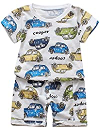 Kids Pajamas Sets,Jchen(TM) for 1-4 T Kids,Baby Kids Boys Girls Automobile Letter Printed Tops+Letter Shorts Outfits