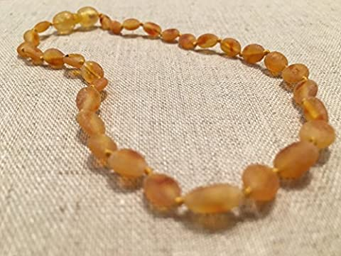 Baltic Essentials 11 Inch Raw Honey Baltic Amber Necklace, screw Bean Olive Teething Necklace for Infant, Baby Drooling & Teething Pain, Growing pains, Reduce Properties -Natural Certified (Baltic Amber Olive Necklace)