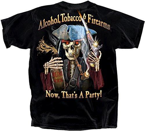 Joe Blow Alcohol Tobacco Firearms Large Cotton Pirate T-Shirt Black Adult Men's Women's Short Sleeve T-Shirt