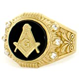 10k Solid Yellow Gold Round Onyx Masonic CZ Mens Ring