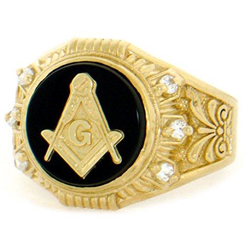 - 14k Solid Yellow Gold Round Onyx Masonic CZ Mens Ring