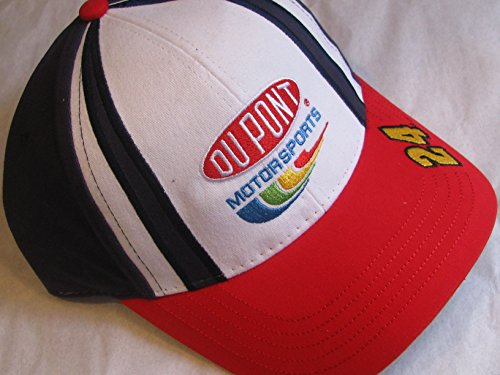 Jeff-Gordon-24-Winners-Circle-White-Blue-Red-Dupont-Motorsports-Hat-Cap-One-Size-Fits-Most-OSFM-Adjustable-Velcro-Strap