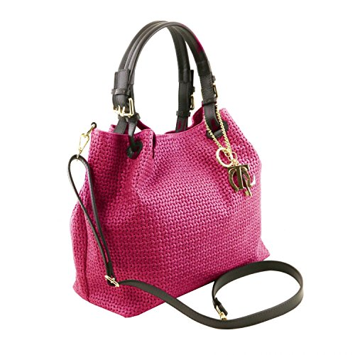 In Tl141573 light Tuscany Printed Blue Keyluck Woven Leather Shopping Bag Tl Magenta Leather BnXgnzF