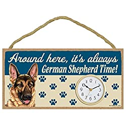 Around Here, It's Always German Shepherd Time! 10W x 5H Wall or Desk Dog Clock with Bonus I Love My Dog Decal