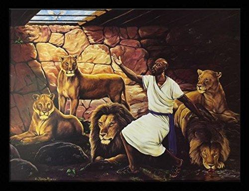 Daniel's Teaching ( Religious ) - Johnny Myers 24x32 Black Framed - African American Black Art Print Wall Decor Poster #JM - US 7D25