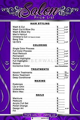 Price List For Beauty Salon, By BARBERWALL | Salon Poster